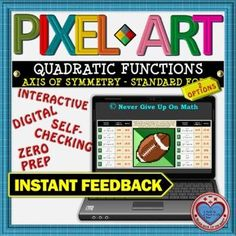 PIXEL ART: Axis of Symmetry Interactive Activities, Math Activities, Teacher Resources, Math Stations, Math Centers, 12th Maths, Standard Form, Secondary Math, Teaching Materials