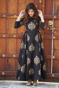Buy online Dresses - Black block printed cotton maxi dress from Jharonka Indian Gowns Dresses, Indian Fashion Dresses, Indian Designer Outfits, Designer Dresses, Fashion Outfits, Maxi Outfits, Peplum Dresses, Designer Kurtis, Dress Fashion