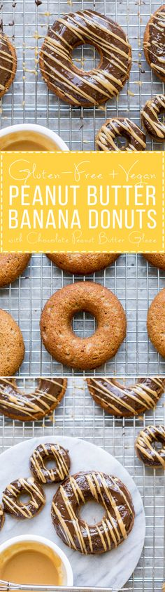 These Peanut Butter Banana Donuts have a dark chocolate glaze topped with a drizzle of peanut butter! They're baked instead of fried, and they are gluten-free, refined sugar-free, and vegan, making them way healthier than your average donut. Gluten Free Donuts, Gluten Free Baking, Gluten Free Desserts, Peanut Butter Banana, Chocolate Peanut Butter, Chocolate Glaze, Almond Butter, Peanut Butter Drizzle Recipe, Peanut Flour