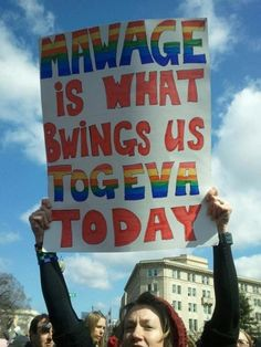 Best Protest Sign:  OMGosh, we just watched The Princess Bride today (4-7-13) and we all cracked up at the Bishop!