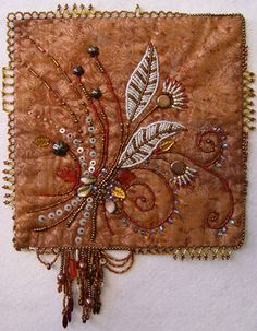 Fall Bouquet, by Thom Atkins from his Bead Embroidery for Quilters course. Crazy Quilting, Crazy Quilt Blocks, Crazy Patchwork, Quilting Ideas, Small Quilts, Mini Quilts, Graphic 45, Ribbon Embroidery, Embroidery Stitches