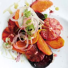 A Menu for Lovebirds, part 3: Next, a succulent salad of blood oranges, beets and fennel whets the appetite with its jewel tones and supple textures. From @Bon Appetit Magazine, found at www.edamam.com.