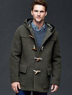 $168, Gap Wool Duffle Coat. Sold by Gap. Click for more info: https://lookastic.com/men/shop_items/370457/redirect