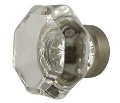 1 3/8 Inch Crystal Octagon Old Town Cabinet Knob (Brushed Nickel Base) Idea for holding hand towel
