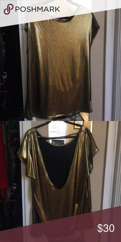 American Apparel Gold metallic T-shirt Dress Open back! Super cute and Sexy!! This dress has never been worn!! American Apparel Dresses Mini