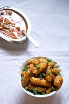 baby corn manchurian recipe, how to make dry baby corn manchurian