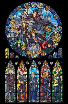 Full Size – Harry Potter Stained Glass Illustration A print that imitates the look of stained glass. This window features the enchanting world of Harry Potter by Marissa Garner Fanart Harry Potter, Harry Potter Wallpaper, Magia Harry Potter, Harry Potter Drawings, Harry Potter Characters, Harry Potter Fandom, Harry Potter Memes, Harry Potter World, Harry Potter Artwork