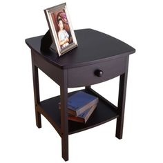 """$64.99  18"""" sq, 22"""" h  Curved End Table or Night Stand with Drawer in Black by Winsome Wood"""