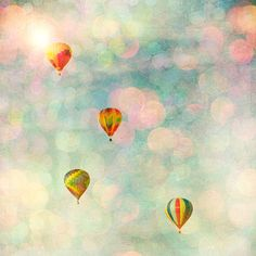 Balloon photograph carnival photo girl's room wall art baby room decor pink and blue pastel colors - Floating in Pink 8x8