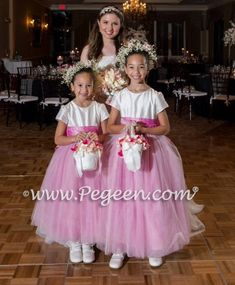 Hot Pink and Ivory Flower Girl Dresses of the Month - January 2017 | Pegeen