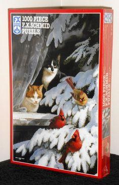 Birdwatchers 1000 Piece Jigsaw Puzzle FX Schmid Cats Cardinals 90162 Factory Sealed 1994 $20