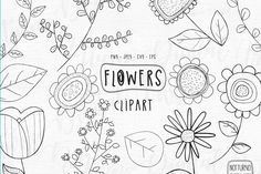 Botanical Line Drawing, Botanical Drawings, Flower Doodles, Doodle Flowers, Draw Flowers, Bird Outline, Leaves Doodle, Create Invitations, Clip Art