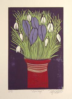 Spring, flowers, linocut reduction by Mariann Johansen-Ellis
