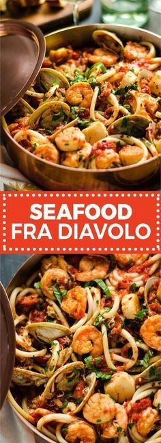 This pasta dish is impressive for a date night or Valentine's Day dinner but easy enough to make at home! Loaded up with shrimp, scallops, clams, and crab, it doesn't get better t (Seafood Pasta Recipes) Fish Recipes, Seafood Recipes, Dinner Recipes, Cooking Recipes, Healthy Recipes, Simple Recipes, Seafood Paella Recipe, Healthy Food, Date Night Recipes