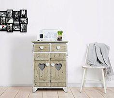 Cassettiera in stile shabby chic, in legno di Paulownia bianco ...