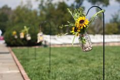 Sunflower and mason jar decorations