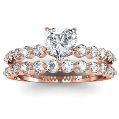 1 Ct Heart Shaped Diamond Engagement Wedding Rings Pave Set 14K WHITE GOLD CUT: VERY GOOD SI2 GIA: Jewelry: Amazon.com