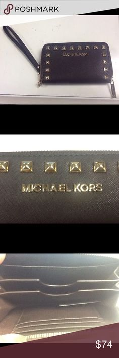 Michael Kors brown leather wallet with gold studs Michael Kors brown leather wallet with gold studs Michael Kors Bags Wallets