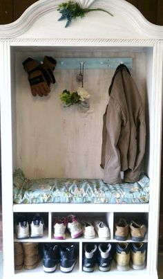 An old TV Armoire turned into a coat/shoe organizer w/bench. Removed the shelf and glass doors, added some white paint, attached a coat hook painted aqua, then whitewashed. Voila~ a useless piece of furniture is now a practical mudroom piece. Tv Armoire, Antique Armoire, Armoire Redo, White Armoire, Armoire Makeover, Furniture Projects, Home Projects, Diy Furniture, Furniture Design