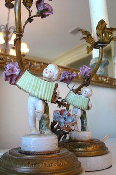 Antique Paris Porcelain Cherub Lamps