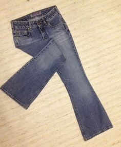 SILVER VINTAGE LOW BOOT CUT SIZE 28 RUGGED STRETCH JEANS ACTL 28X30 EUC Z68 #SilverJeans #BootCut