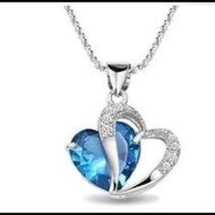 Crystal Love Heart Pendant Necklace Blue Crystal Rhinestone Pendant 15.7 inch Silver Chain Jewelry Necklaces