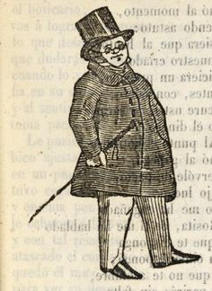 Xilografía en cabecera de un hombre con sombrero de copa y gafas.