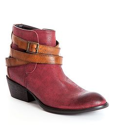 Another great find on #zulily! Burgundy & Tan Cowgirl Bootie by French Blu #zulilyfinds.  LOVE this color