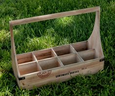 """Wood 8 Bottle Wine Carrier  holds 8 wine bottles  wood with reinforced sides & cut out handles from old crates  18"""" x 14"""" x 8"""" wide  each holder is 4"""" x 3.5"""""""