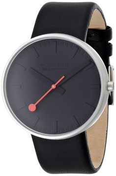 Amazon.com: Mondaine Special Giant Ultra Black Dial Black Leather Mens Watch A6603032815SBO: Mondaine: Watches