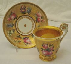 Antique Russian Gardner Porcelain Cup and Saucer, circa 1820   (kpm Sevres )
