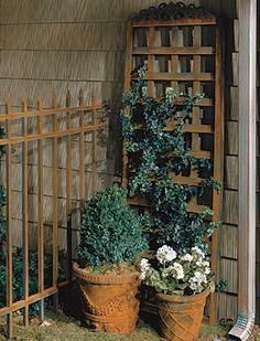 Roof, rain gutter & down spout – Finished with Metal Effects Copper Reactive Paint and Green Patina Aging Solution;  Fence, pots & trellis – Finished with Metal Effects Iron Paint and Rust Activator