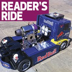 This amazing Red Bull Racing MAN Jet Truck is based off of an FG 1/5-scale long-wheelbase kit and powered by a P120 JetCat turbine producing 30lbs of thrust at 125,000rpm! Builder Jerome Smith is t…