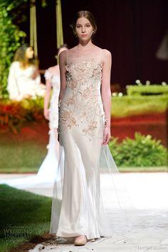david fielden 2015 bridal 8374 sleeveless colored wedding dress thin straps illusion neckline 3d flower applique