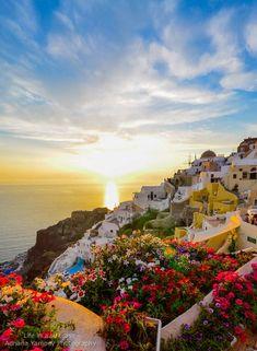 Sunset in Oia Hotel, Santorini, Greece