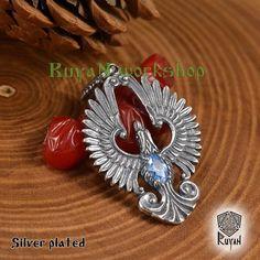 Items similar to Phoenix Bird pendant. Pendant with gemstones. phoenix charm on Etsy Phoenix Harry Potter, Phoenix Bird, Viking Jewelry, Silver Plate, Eagle, Gemstone Rings, Bronze, Pendants, Gemstones