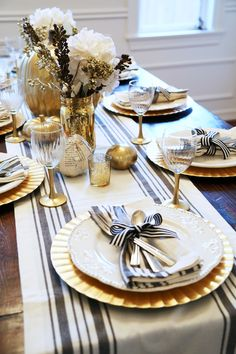 all set: black and gold thanksgiving table. - corilynn