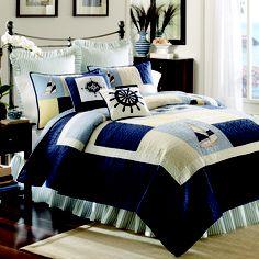 Sail away in this nautical #bedding. #coastal