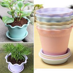 Wavy Planter Holder Flower Pot with Tray Saucers Home Party Graden Decor Plastic #Unbranded