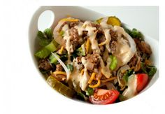 Cheeseburger Salad Recipe with Big Mac Dressing! If you love Big Macs but want something lighter and healthier, you will love this!