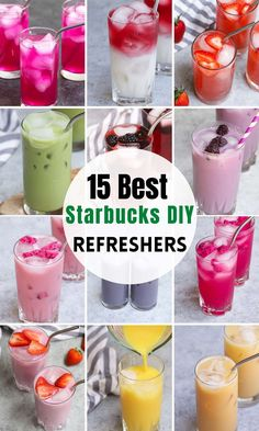 A fruity and colorful Starbucks refresher is the best way to enjoy a sunny day! We've collected 15 of the best refresher drinks from Starbucks so that you can find something new to try. There are currently 10 refreshers on its official menu, and infinite ways to order from the secret menu. You'll learn everything about these popular refreshers and how to make copycat refresher recipes at home! #StarbucksRefreshers #StarbucksStrawberryRefreshers#StarbucksRefresherDrinks