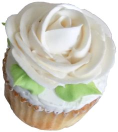 White cupcakes, filled with strawberry filling and decorated with a vanilla buttercream rose - cupcakes York PA