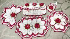 Conjunto em crochê Para o Banheiro Flor de Cerejeira completo