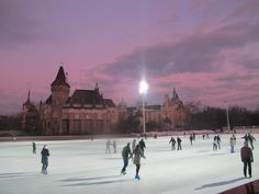 Ice skating in City Park, Budapest.