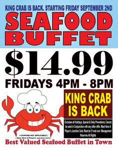 Enjoy delicious fresh seafood at Railroad Pass Hotel & Casino's Box Car Buffet! The Best Valued Seafood Buffet in Nevada! #kingcrab