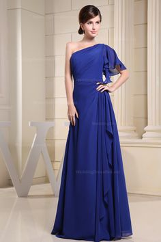 Amazing one shoulder with short sleeve chiffon floor length bridesmaid dress