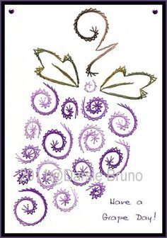 Embroidery Paper Wine Grapes Harvest Paper Embroidery Pattern for Greeting Cards - Embroidery Cards, Hand Embroidery Patterns, Cross Stitch Embroidery, Embroidery Designs, Card Patterns, Fun Patterns, Doily Patterns, Clothes Patterns, Dress Patterns