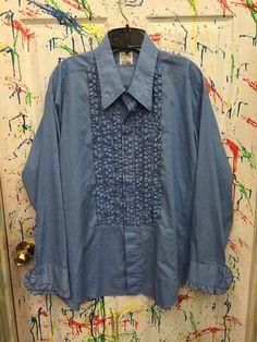 Mens tux ruffled vintage button down long sleeve shirt XXL light blue with darker blue accents After Six RagsAGoGo Mens Tux, Denim Button Up, Button Up Shirts, Tux Shirt, Dark Blue, Light Blue, Blue Accents, Button Downs, Long Sleeve Shirts