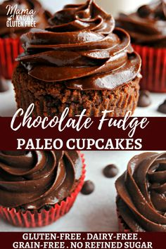 Paleo Chocolate Fudge Cupcakes {Dairy-Free, Gluten-Free, Grain-Free, No Refined Sugar} - Mama Knows Gluten Free Chocolate Fudge Cupcakes, Gluten Free Chocolate Cupcakes, Chocolate Recipes, Coconut Flour Chocolate Cake, Paleo Sweets, Paleo Dessert, Dessert Recipes, Healthy Cupcake Recipes, Healthy Cupcakes