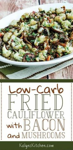 Low-Carb Fried Cauliflower with Bacon and Mushrooms is a stove-top cauliflower dish that will make your tastebuds swoon. Keto Side Dishes, Vegetable Side Dishes, Vegetable Recipes, Vegetable Drinks, Comfort Foods, Clean Eating Snacks, Healthy Eating, Healthy Nutrition, Tartiflette Recipe